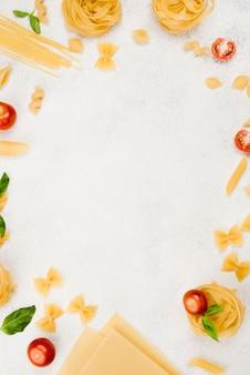 Flat lay frame of italian pasta