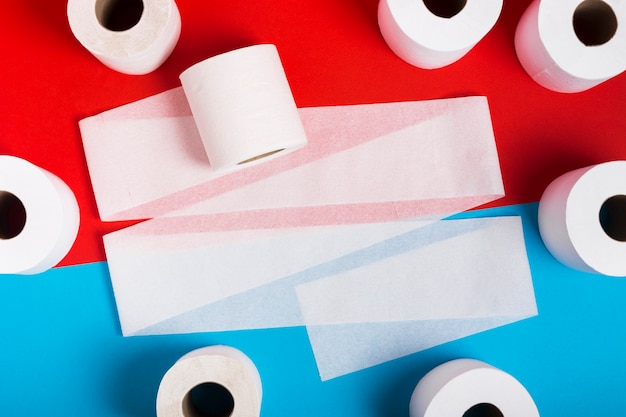 Flat lay frame of toilet paper rolls