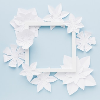 Flat lay frame with paper flowers