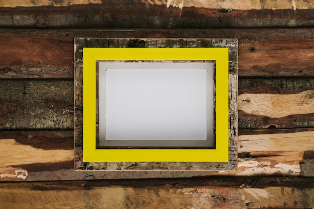 Flat lay frame with wooden background