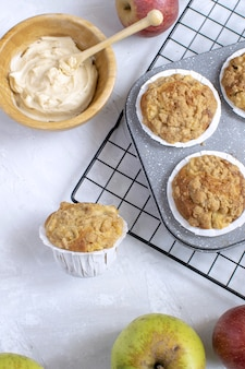 Flat lay of fresh baked apple muffins
