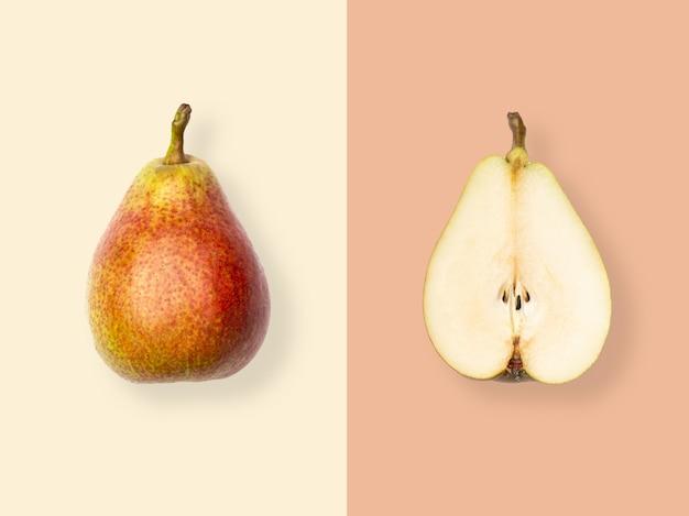 Flat lay of fresh pears