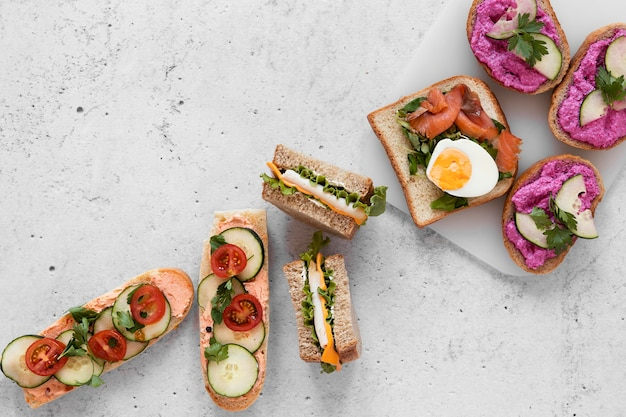 Flat lay fresh sandwiches assortment on cement background