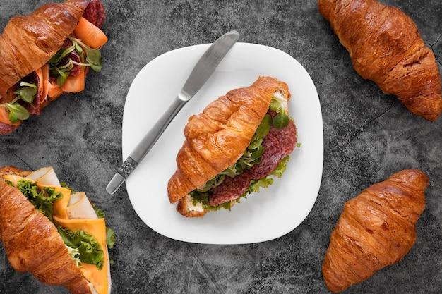 フラットレイアウトの新鮮なサンドイッチの品揃え