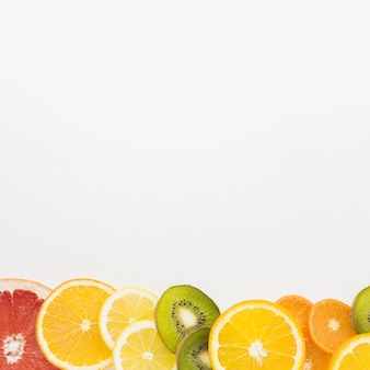 Flat lay of fruit assortement with copy space