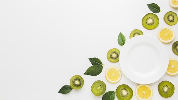 Flat lay of fruits concept with copy space