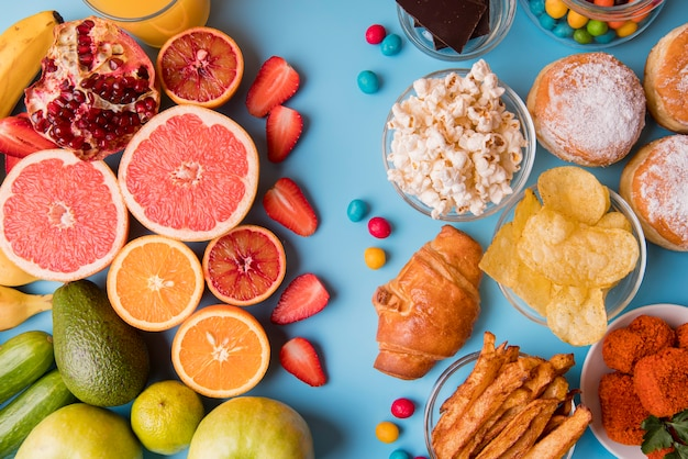 Flat lay fruits and snacks