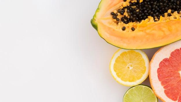Flat lay fruits on white background