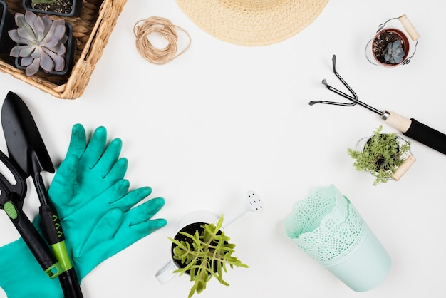 Flat lay of gardening tools and copy space