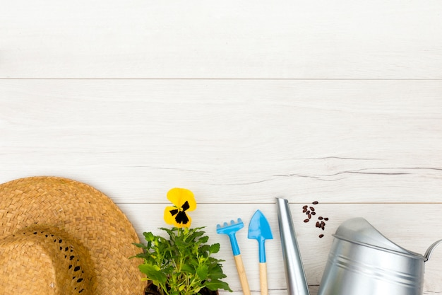 Flat lay gardening tools on wooden background with copy space