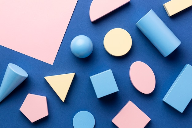 Flat lay of geometric forms