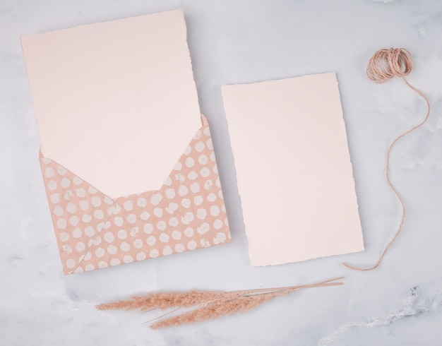 Flat lay girly decoration for wedding day