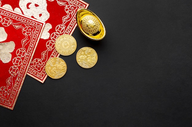 Flat lay golden coins chinese new year
