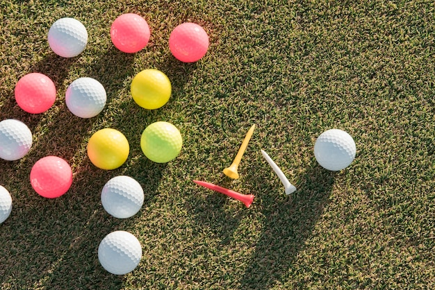 Flat lay golf balls collection