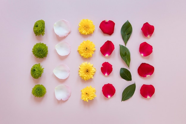 Flat lay of gorgeous flowers composition