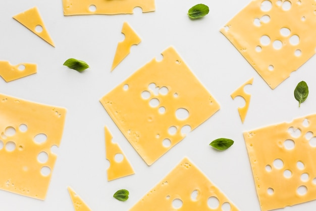 Flat lay gourmet emmental cheese slices