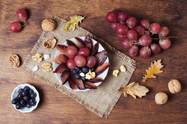 Flat lay gourmet picnic in autumn