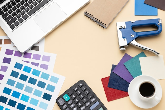 Flat lay graphic designer desk composition
