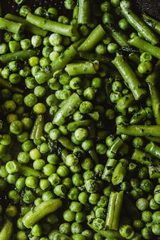 Flat lay green peas wallpaper