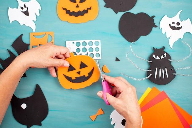 Flat lay of halloween decoration