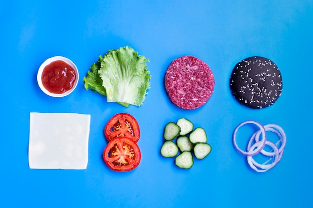 Flat lay of hamburger ingredients