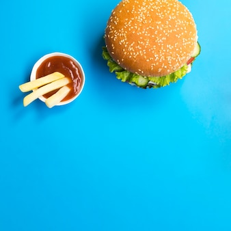 Flat lay of hamburger with copy space