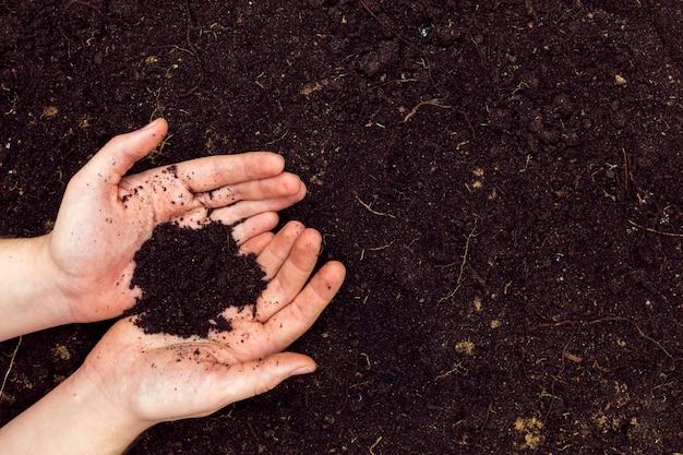 Плоские лежали руки с почвой и копией пространства