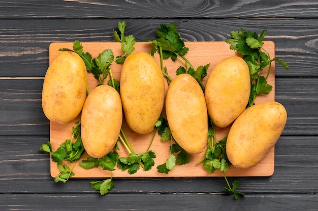 Flat lay healthy potatoes