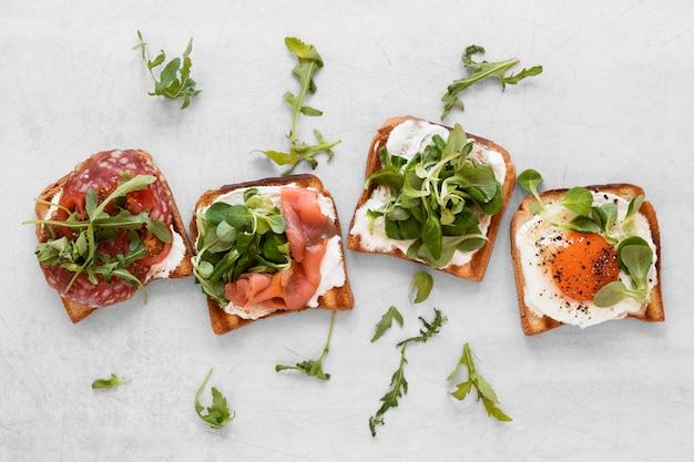 Ассортимент здоровых бутербродов