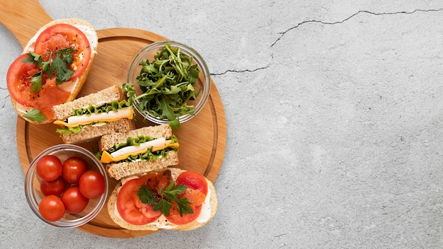 Flat lay healthy sandwiches composition with copy space