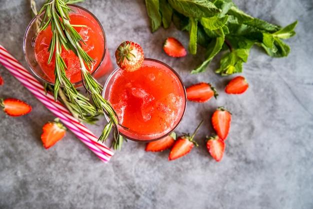 Flat lay of healthy summer fruit juice