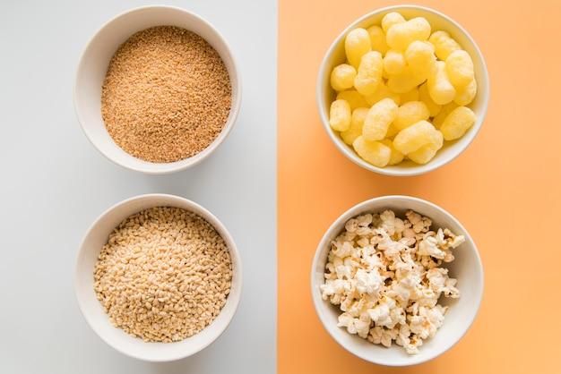 Flat lay healthy vs unhealthy snacks