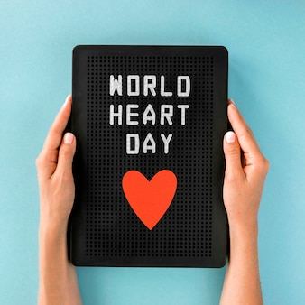 Flat lay of heart for world heart day