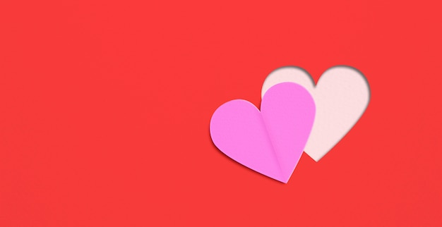 Flat lay hearts on red paper background. valentines day concepts.