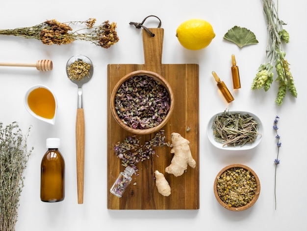 Lay piatto di erbe e spezie per scopi medicinali