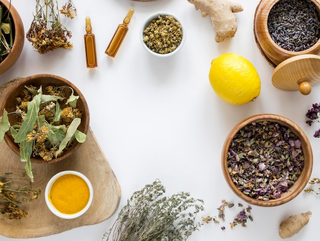Flat lay of herbs and spices for medicinal purpose