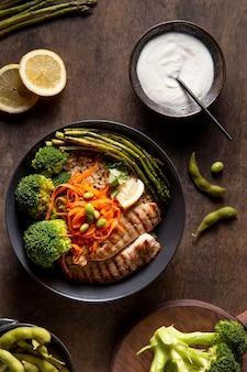 Плоский состав пищи с высоким содержанием белка