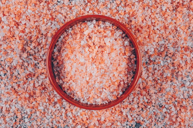 Flat lay himalayan salt in bowl