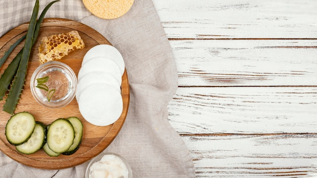 Flat lay homemade treatment ingredients
