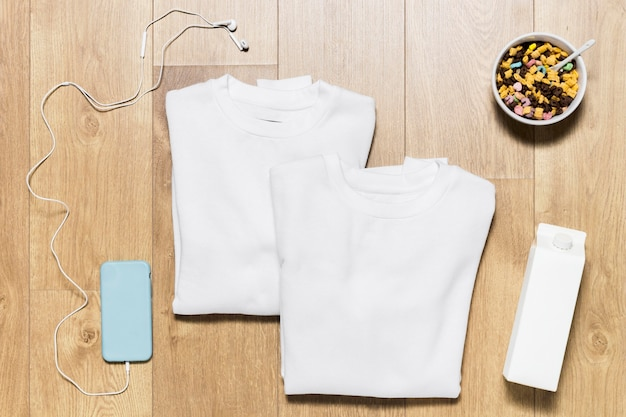 Flat lay hoodie with cereals