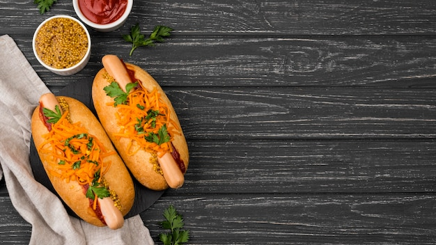 Flat lay hot dogs with copy-space