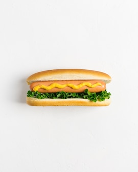 Flat lay hotdog  with copyspace