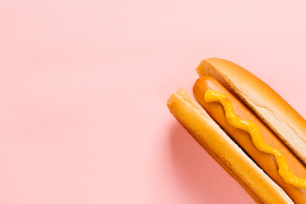 Flat lay hotdog with mustard copyspace