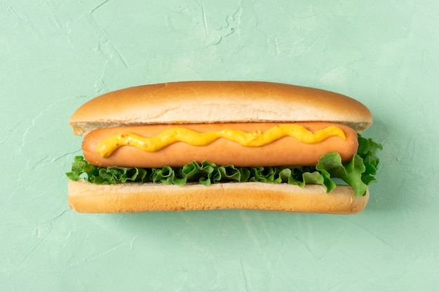 Flat lay hotdog with salad and mustard