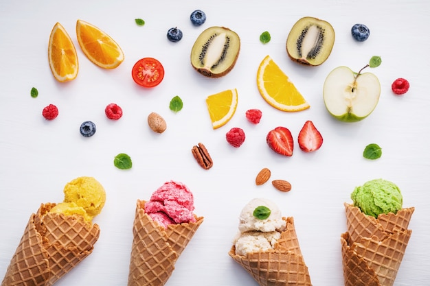 Flat lay ice cream cones collection on white background for sweets menu design.