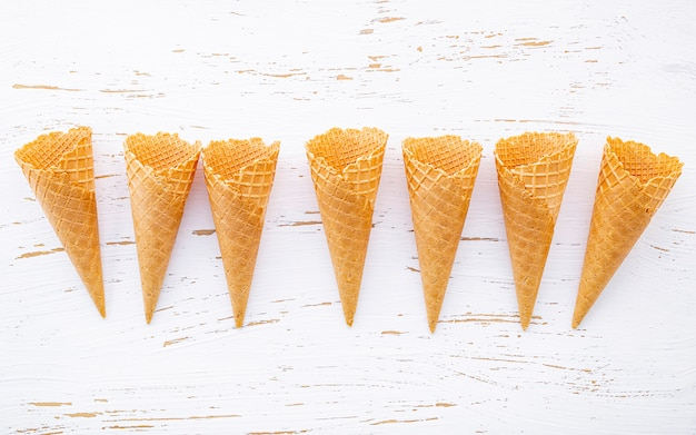 Flat lay ice cream cones collection