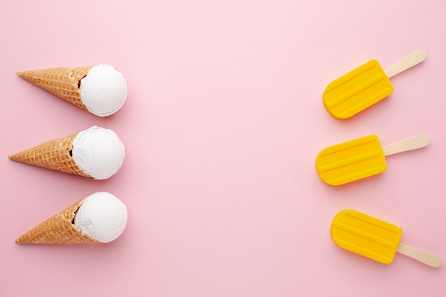 Flat lay ice cream and ice cream on stick