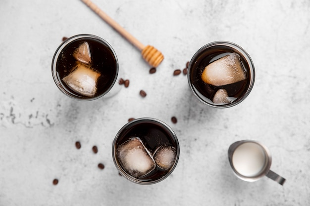 Flat lay iced coffee glasses