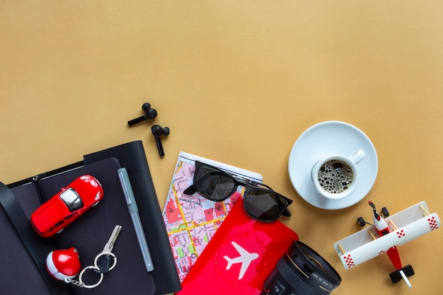 Flat lay image of accessory man to plan travel in holiday
