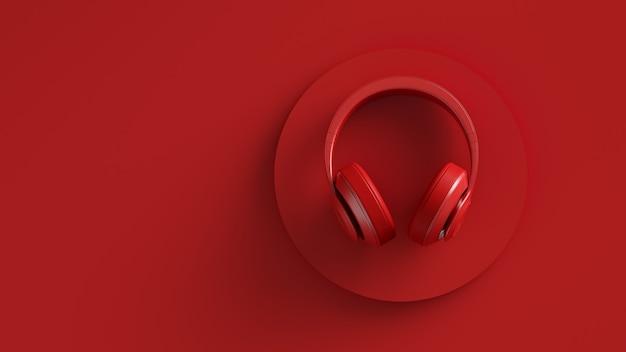 Плоское изображение беспроводных наушников вид сверху красный фон сплошной цвет дизайн d иллюстрация